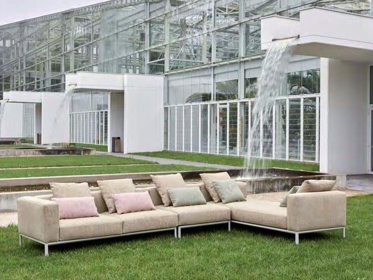 Corner fabric garden sofa with removable cover PLATFORM | Garden sofa by H&Co