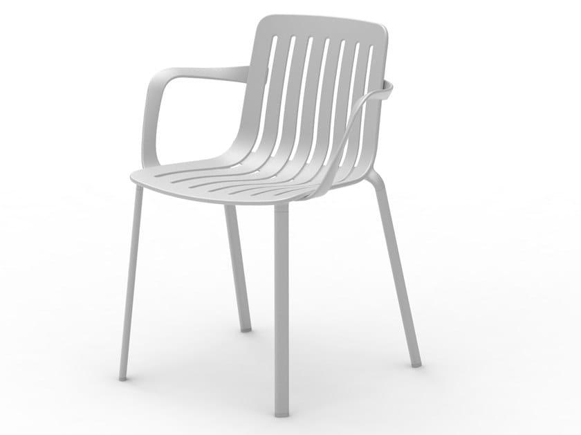 Sedia da giardino in alluminio pressofuso con braccioli PLATO | Sedia con braccioli by Magis