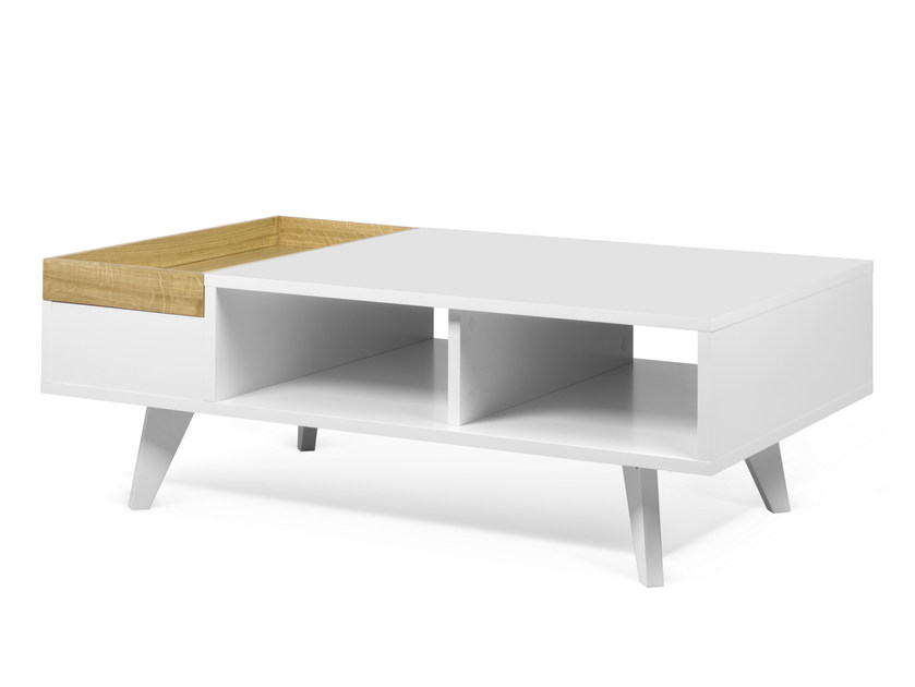 Low coffee table with integrated magazine rack PLATÔ by TemaHome