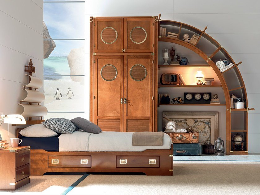 Fitted wooden bedroom set with bridge wardrobe PLAY SAIL | Bedroom set by Caroti