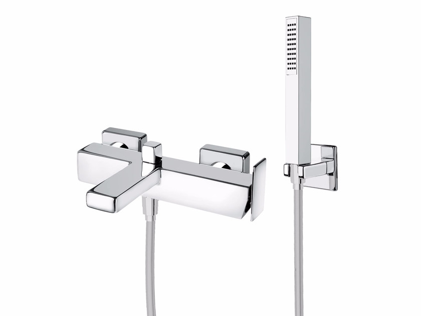 Wall-mounted single handle bathtub mixer with hand shower PLAYONE 85 - 8533262 by Fir Italia