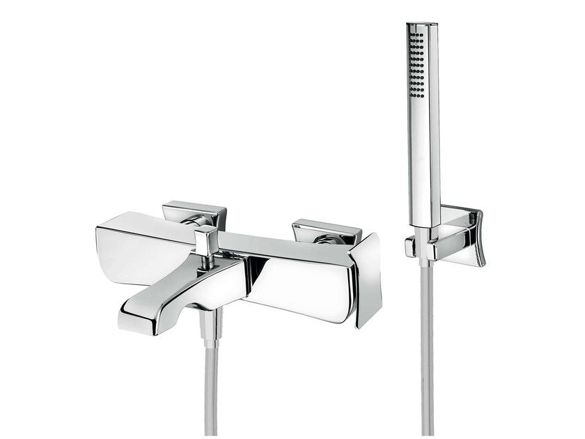 Wall-mounted bathtub mixer with hand shower PLAYONE DÉCO 87 - 8733382 by Fir Italia