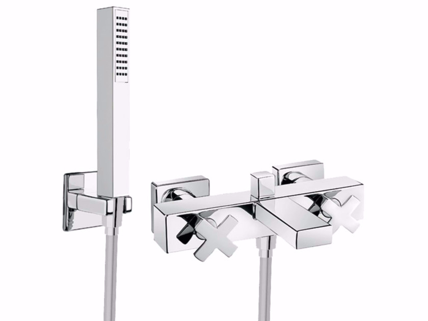 3 hole wall-mounted bathtub tap with hand shower PLAYONE PLUS 37 - 3731502 by Fir Italia