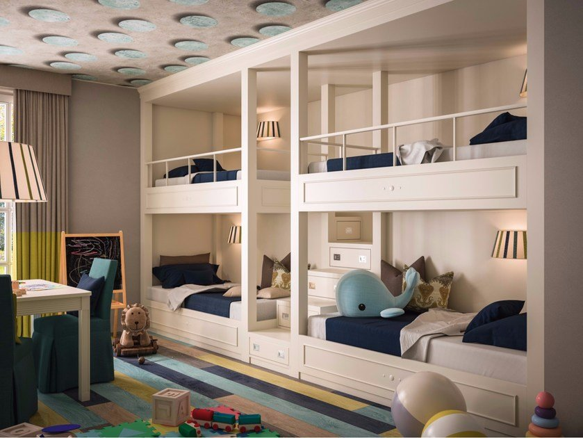 Block Of Bunk Beds With Tv And Play Area Playroom Via Montenapoleone