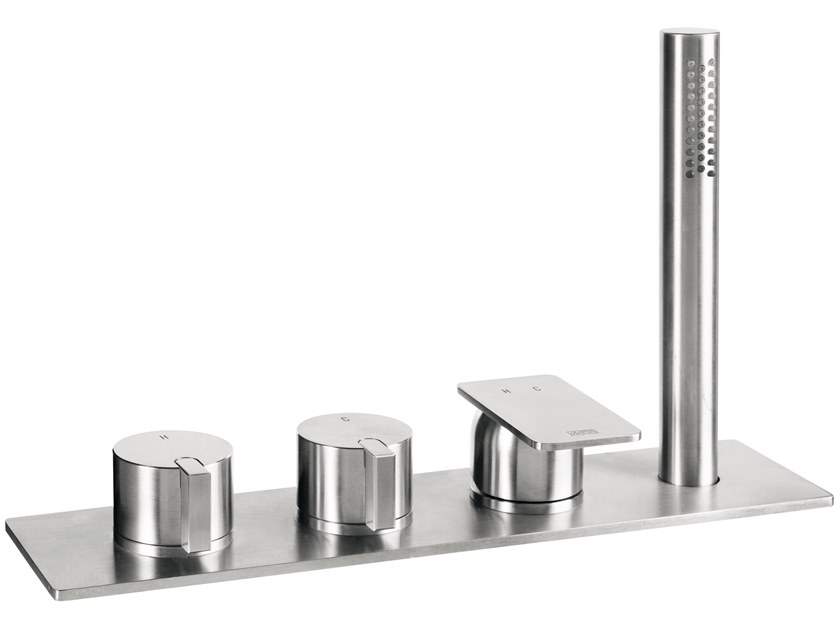 Bathtub set with hand shower with plate PLAYSTEEL 58 - 5831504 by Fir Italia