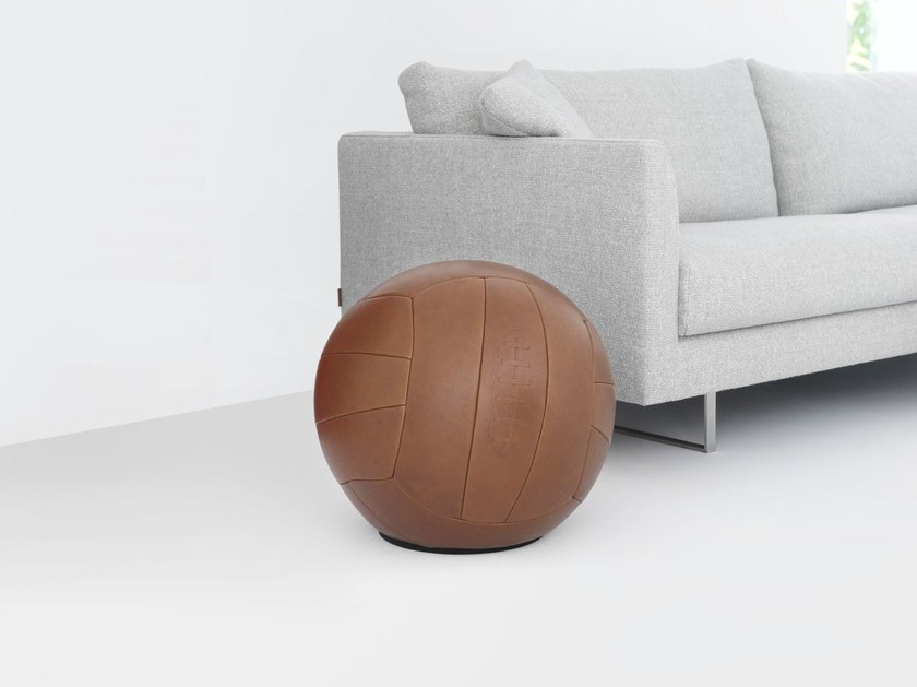 Upholstered leather stool PLAYTIME by Montis