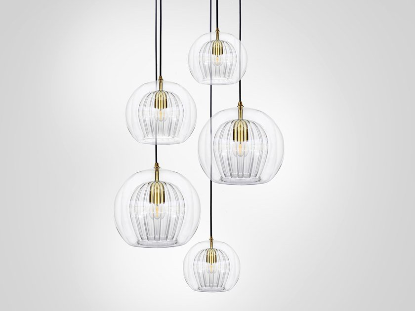 LED direct light metal pendant lamp PLEATED CRYSTAL CLUSTER 5 by Marc Wood Studio