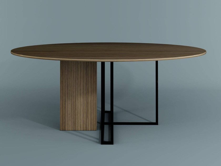Round wooden table PLINTO | Round table by Meridiani