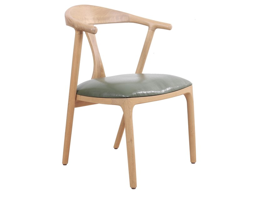 Solid wood chair with integrated cushion PLOOT | Solid wood chair by ALANKARAM