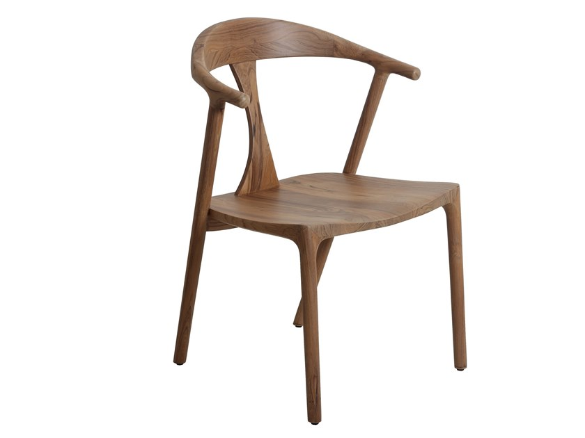 Teak chair with armrests PLOOT | Teak chair by ALANKARAM