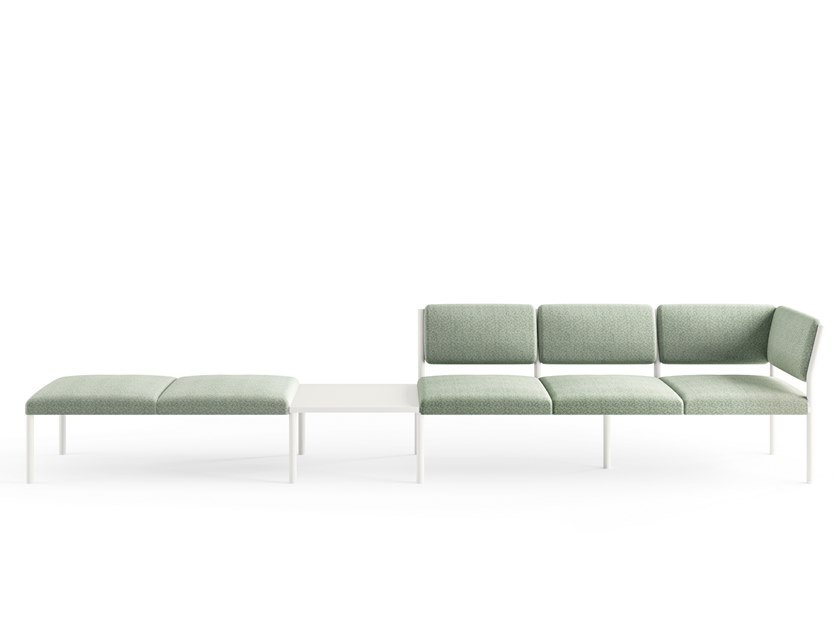Modular fabric bench seating with back PLUG B   Bench seating by Crassevig