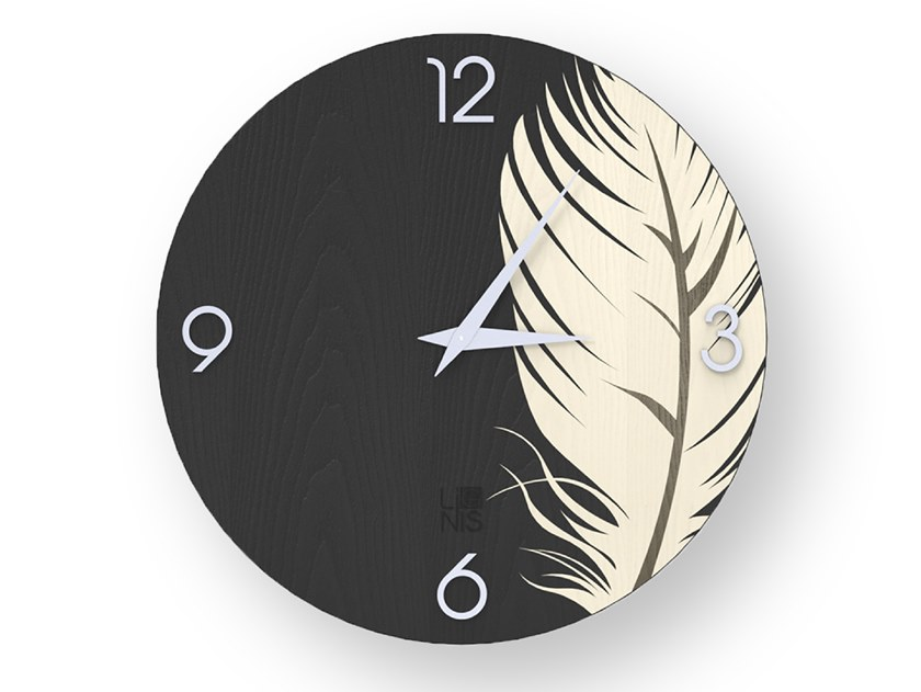 Wall-mounted wooden clock PLUME COLD | Clock by LIGNIS®