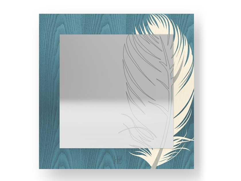 Square wall-mounted mirror PLUME COLORS | Mirror by LIGNIS®
