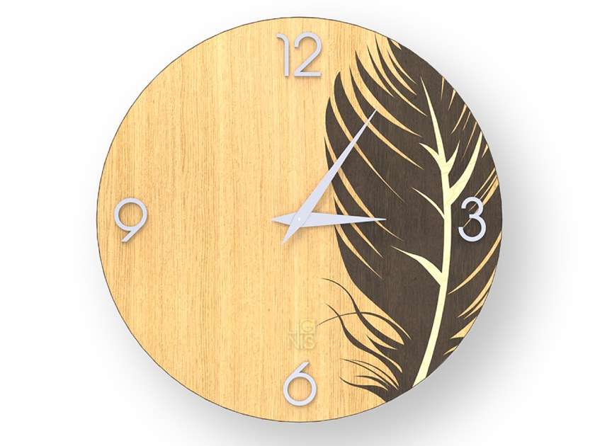 Wall-mounted wooden clock PLUME WARM | Clock by LIGNIS®