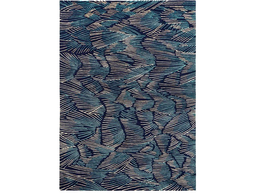 Hand knotted rug in tibetan wool and chinese silk PLUMES by Deirdre Dyson