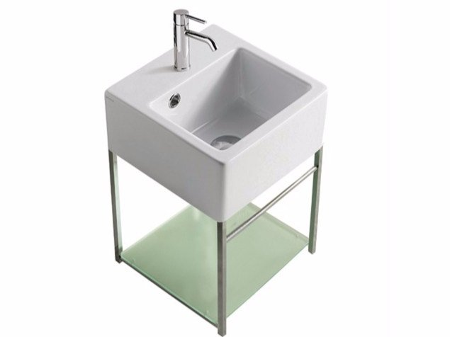 Wall-mounted chromed brass vanity unit PLUS DESIGN 29 X 29 | Vanity unit by GALASSIA