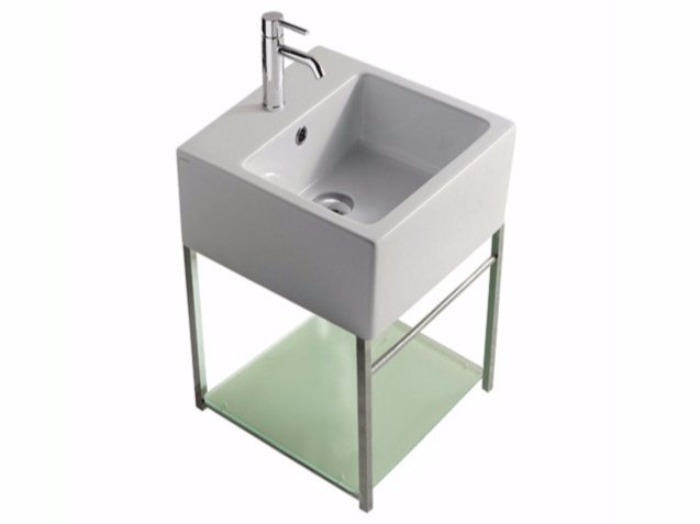 Wall-mounted chromed brass vanity unit PLUS DESIGN 39 X 39 | Vanity unit by GALASSIA