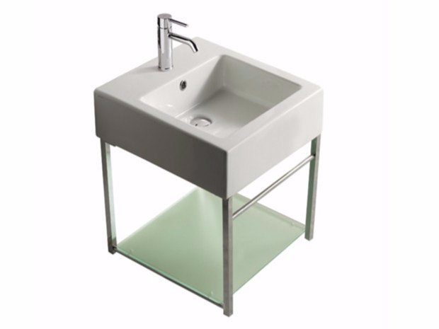Wall-mounted chromed brass vanity unit PLUS DESIGN 47 X 47 | Vanity unit by GALASSIA