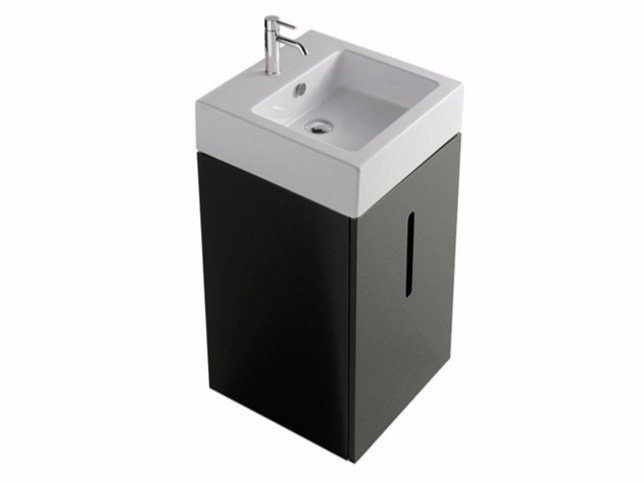 Lacquered wall-mounted MDF vanity unit with doors PLUS DESIGN 48 X 48 | Vanity unit by GALASSIA