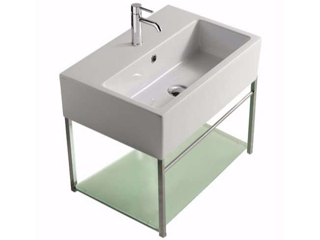Wall-mounted chromed brass vanity unit PLUS DESIGN 59 X 39 | Vanity unit by GALASSIA