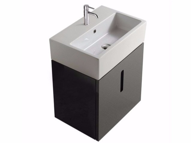 Lacquered wall-mounted MDF vanity unit with doors PLUS DESIGN 60 X 40 | Vanity unit by GALASSIA