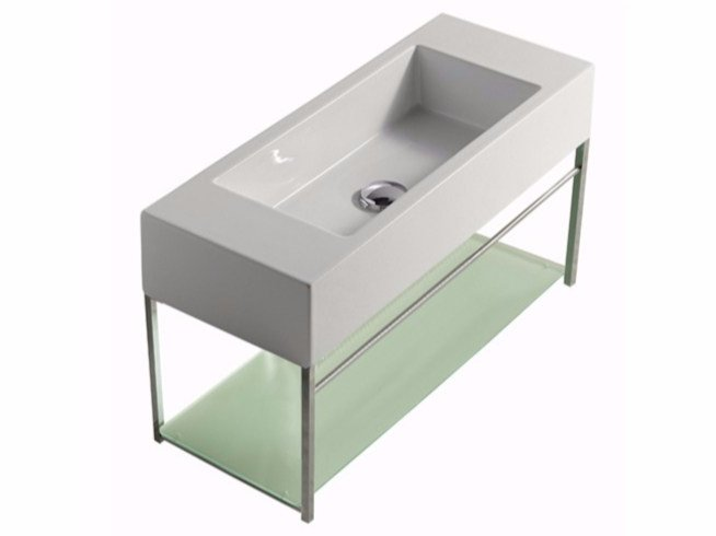 Wall-mounted chromed brass vanity unit PLUS DESIGN 74 X 29 | Vanity unit by GALASSIA