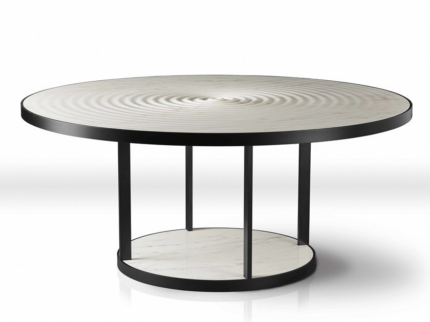 Round marble dining table PLUVIO by Kreoo
