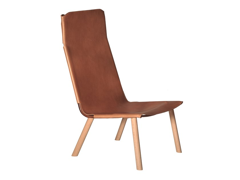 Leather easy chair high-back PLY 475V by Capdell