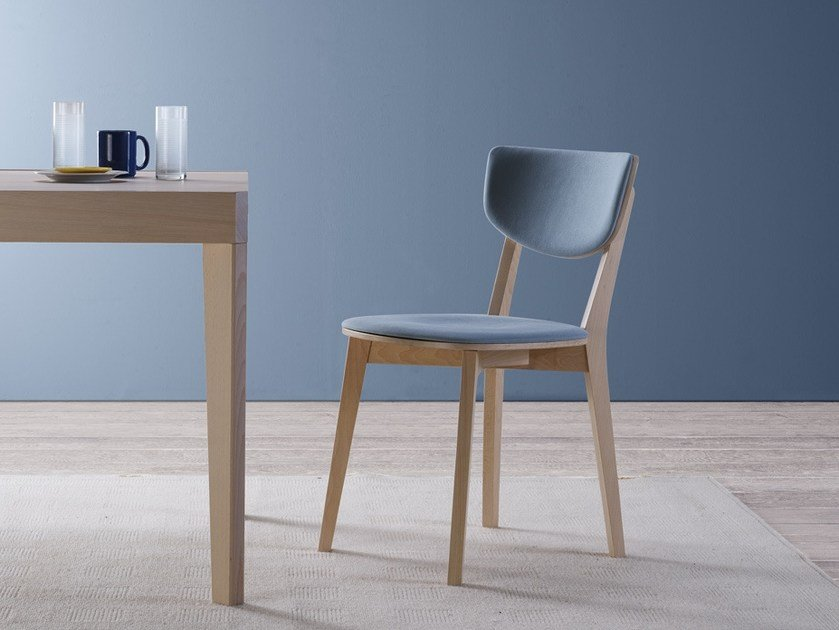 Contemporary style open back wooden chair with integrated cushion POP | Chair with integrated cushion by Natisa