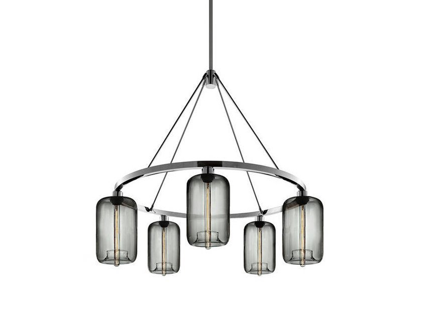 LED blown glass chandelier POD | Chandelier by Niche Modern