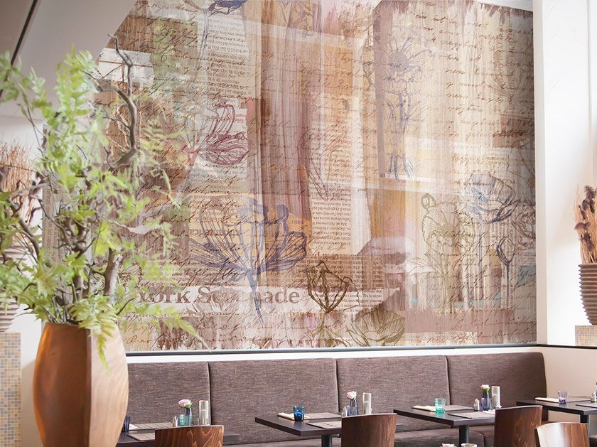 Digital printing wallpaper with floral pattern POETRY by Tecnografica Italian Wallcoverings