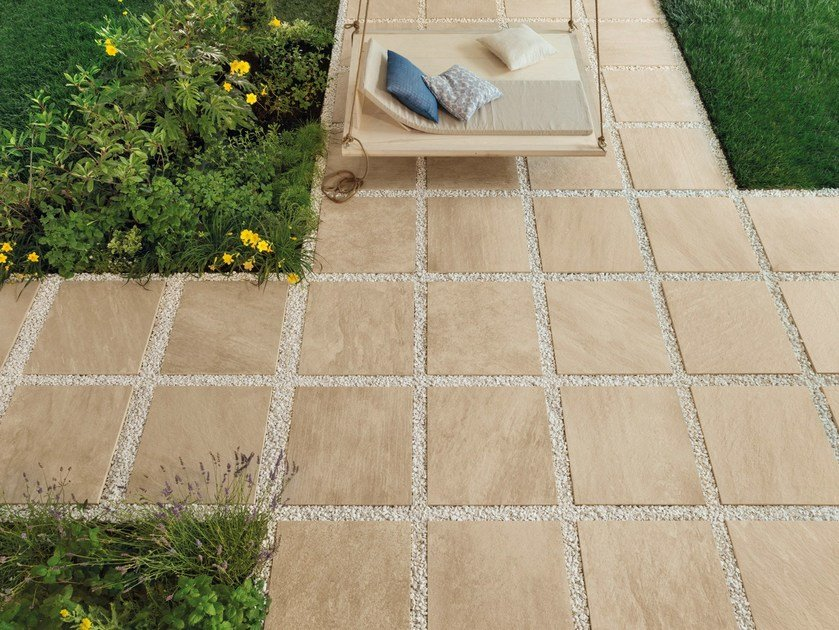 Porcelain stoneware outdoor floor tiles with stone effect POINT SAND by CERAMICHE KEOPE