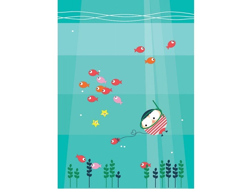 Fabric Canvas print POISSON EN LAISSE by ACTE-DECO