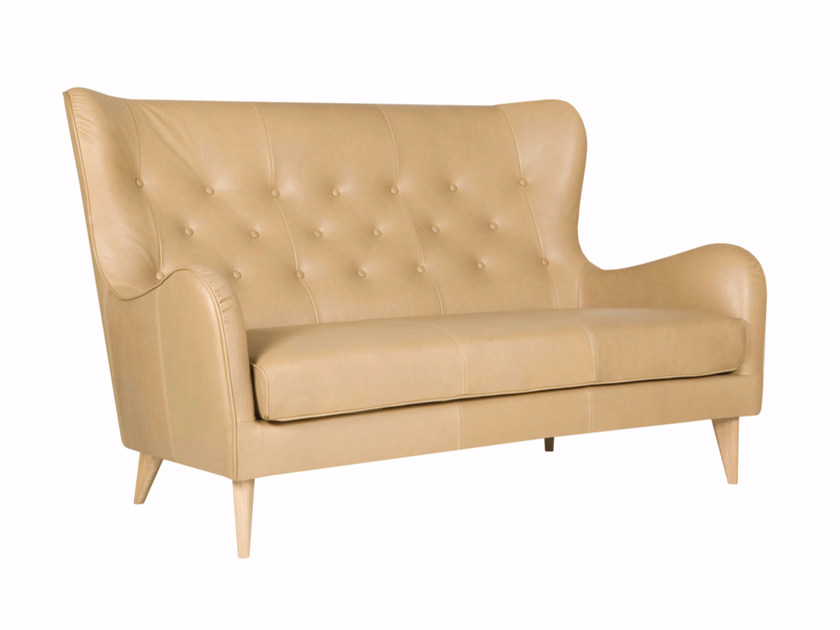 Tufted 2 seater high-back leather sofa