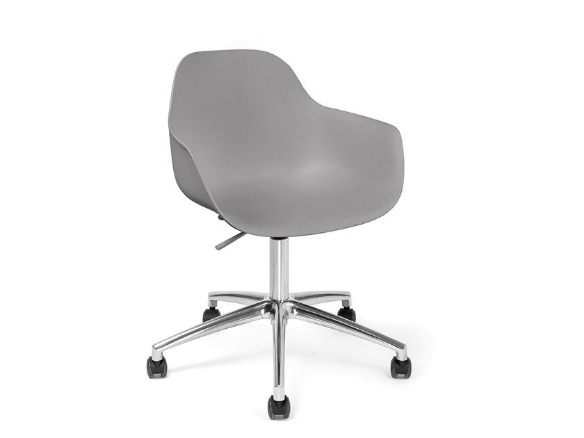 Swivel polypropylene chair with 5-spoke base POLA ROUND P SW | Chair by Crassevig