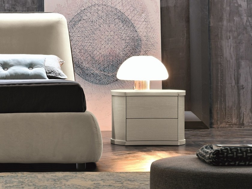 Melamine-faced chipboard bedside table with drawers POLARIS | Bedside table by Febal Casa