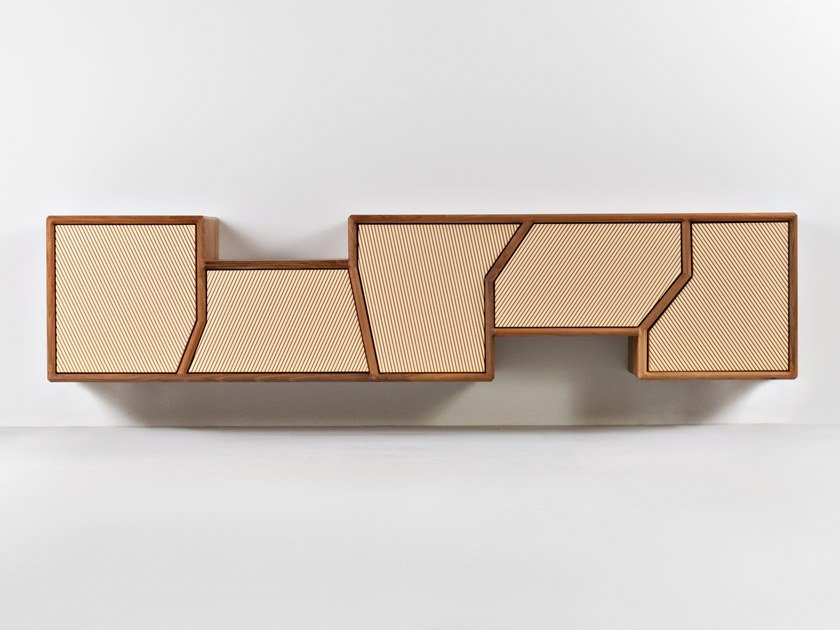 Suspended wooden sideboard with doors POLYGON by HOOKL und STOOL