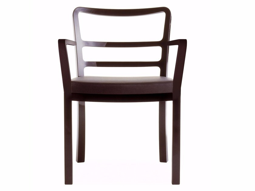 Leather chair with armrests POLO | Chair with armrests by Cizeta L'Abbate