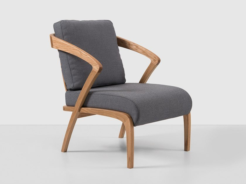 Upholstered fabric armchair with armrests POLY | Fabric armchair by Hemonides