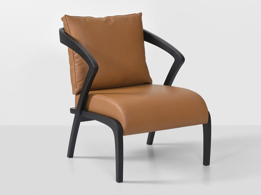 Upholstered leather armchair with armrests POLY | Leather armchair by Hemonides