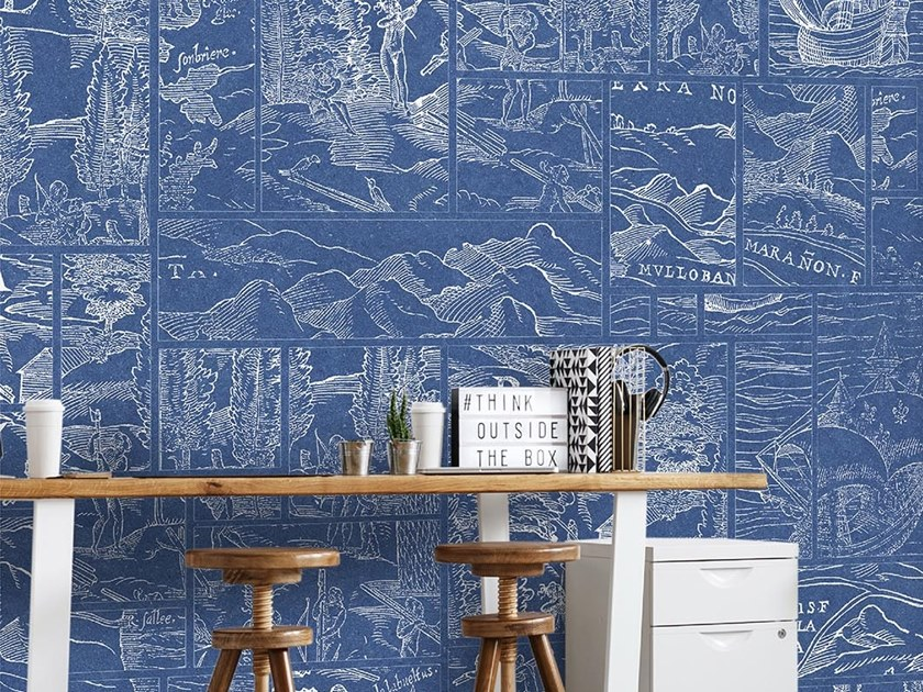Industrial and modern wallpaper, PVC free, eco, washable POLYGON MAP by Wallpepper