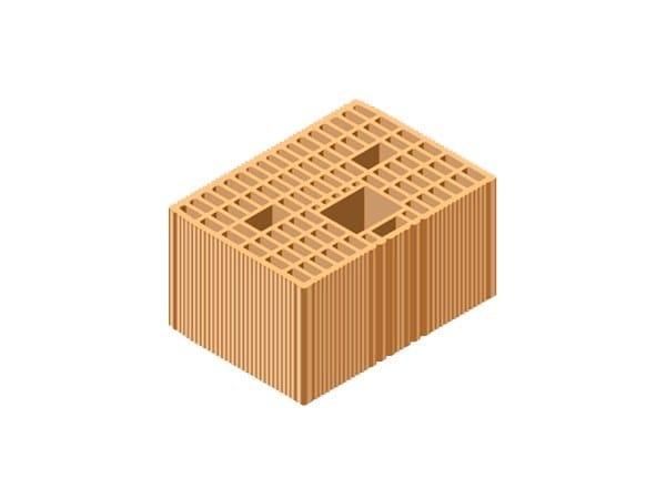 Loadbearing clay block for reinforced masonry POROTON® 35X25X19 by T2D