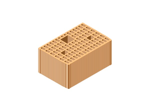 Loadbearing clay block for reinforced masonry POROTON® 39X25X19 by T2D