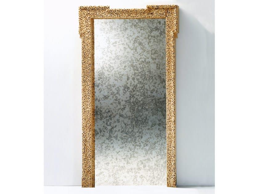 Freestanding rectangular framed wood and glass mirror PORTA SPECCHIO by Mirabili