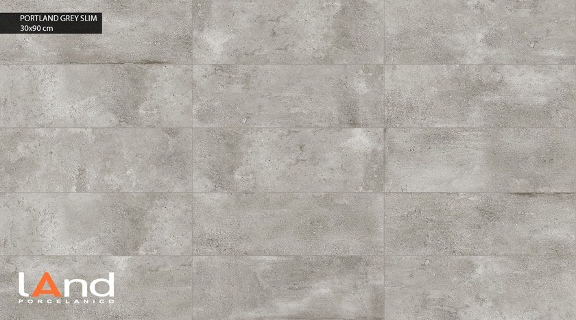 Technical porcelain wall tiles with concrete effect PORTLAND SLIM GREY by Land Porcelanico