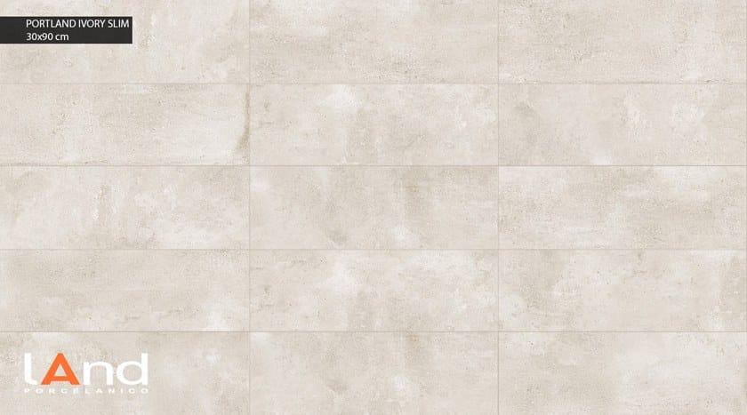 Rivestimento in gres porcellanato tecnico effetto cemento PORTLAND SLIM IVORY by Land Porcelanico