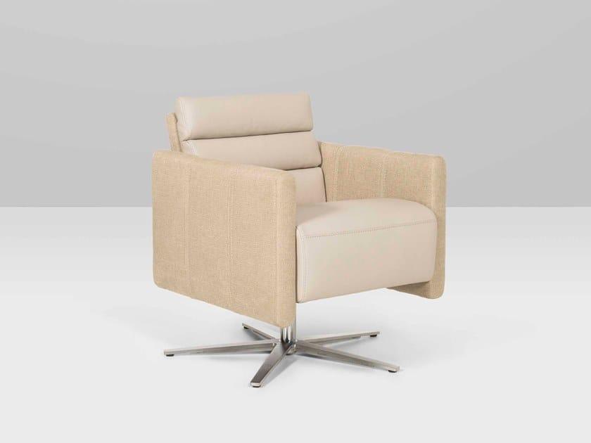 Leather armchair with 5-spoke base POSITANO | Armchair with 5-spoke base by Recor Home