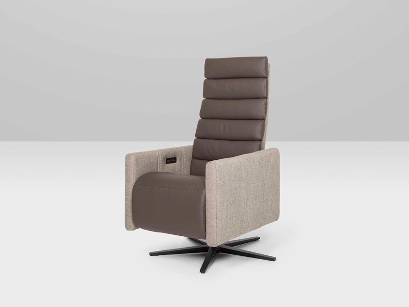 Recliner high-back leather armchair with 5-spoke base POSITANO | Recliner armchair by Recor Home