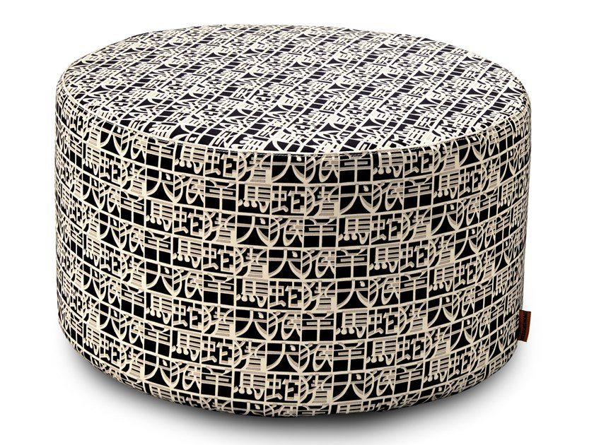 Satin cylinder pouf with digital print IDEOGRAMMA | Pouf by MissoniHome
