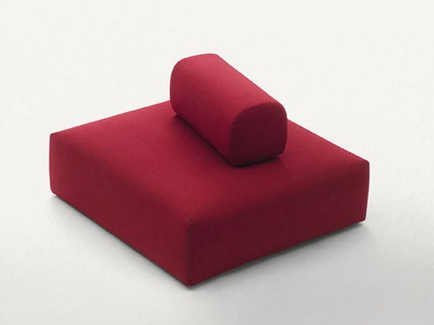 Upholstered square fabric pouf RIBBON | Pouf by paola lenti